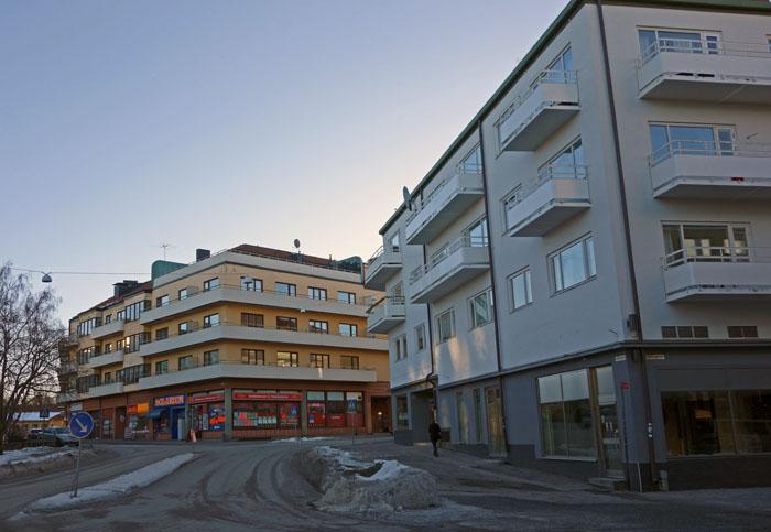 Balkonger kring Järntorget i Eskilstuna