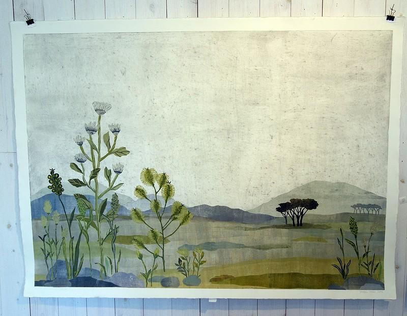 Landskap i collageteknik av Josefin Wedel.