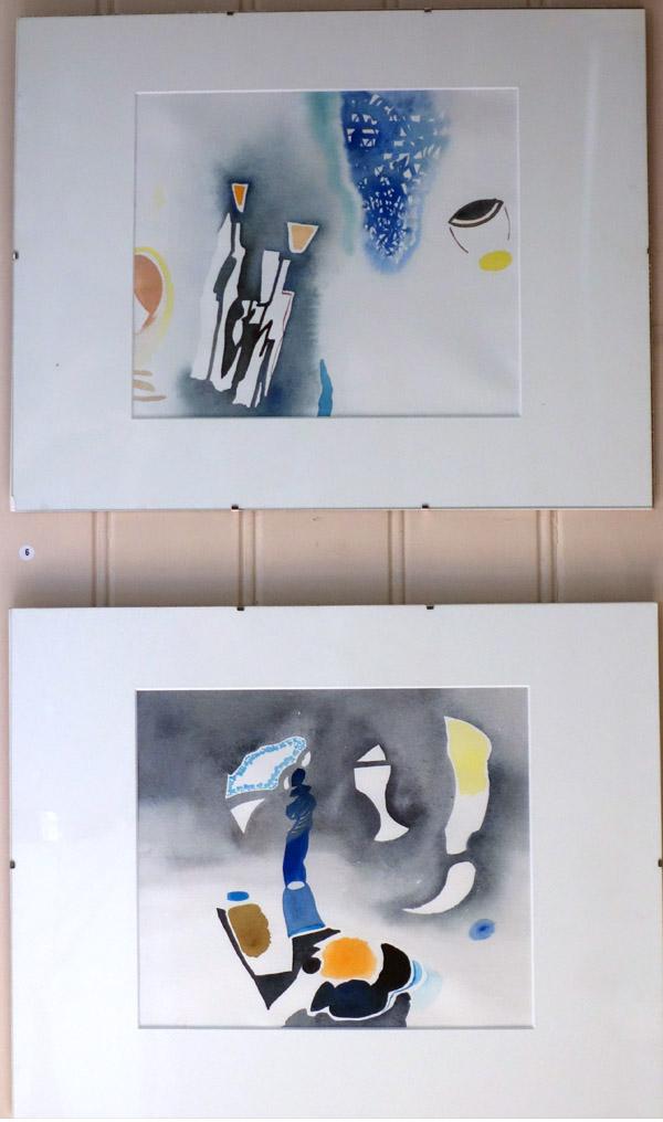 Martin Sjöberg. Akvareller med abstrakta motiv.