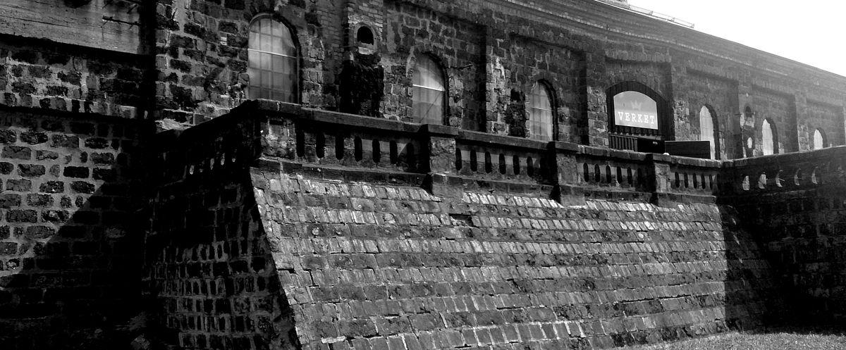 Avesta art, den gamla byggnaden av slaggsten.