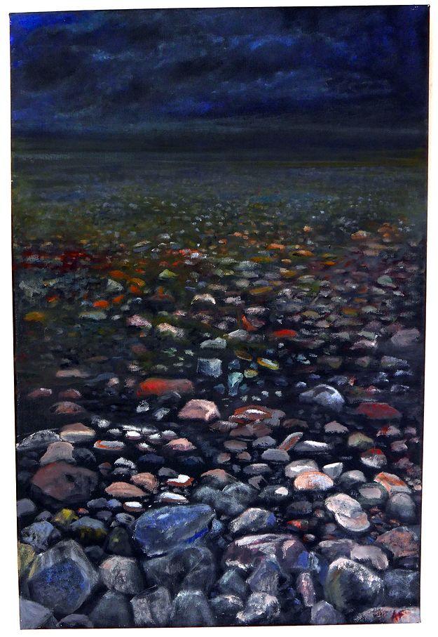 Stening strand - målning av Anita Forsgren