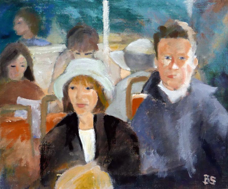 På väg bort - målning av Barbro Stenvall